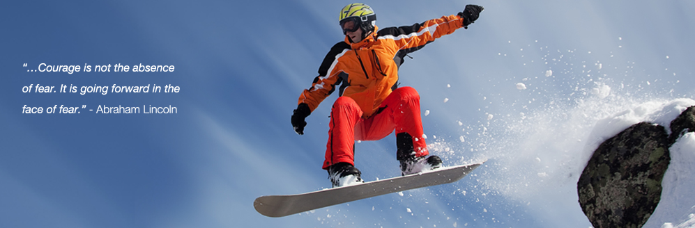 photograph of snowboarder